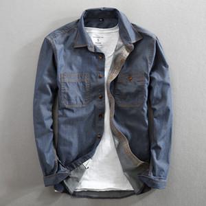 Casual men shirt Pure Cotton Regular Fit Long Sleeve Fashion mens shirts Double Pocket 201021