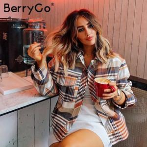 Berrygo solo pecho mujeres chaqueta de manga larga a cuadros de gran tamaño Streetwear casual de las señoras abrigo de otoño Outwear la Mujer