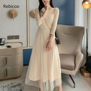 Rebicoo damas vestido de temperamento otoño nuevo elegante malla punto costura vestido elegante fiesta femenino vesitidos1