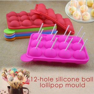 12 Hole Mold Ball Shaped Silicone Lollipop Chocolate Cake Baking Cube Maker Ice Tray Stick Tool