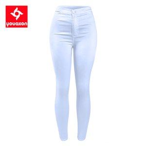 1888 Youaxon Women`s High Waist White Basic Casual Fashion Stretch Skinny Denim Jean Pants Trousers Jeans For Women C1009