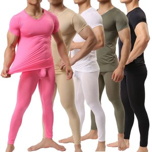 Men Trousers + Undershirts Ice Silk Penis Pouch Leggings Shorts Sleeve T-shrirts Sets Sports Bodybuilding Gym Fitness Homewear 201007