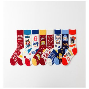 Women Socks Fashion Wind Flame Socks Cartoon Cotton Long Breathable 8 Colors Student Socks Colorful Stocking Wholesale