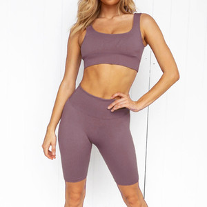Women's Yoga Short 2 Pieces High Waist Fitness Shorts Gym Workout Running Sportswear Sports Suit