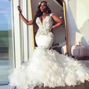 African Mermaid Wedding Dress 2021 Sweetheart Ruffle Royal Train Black Bride Dress Beading Formal Bridal Gown Plus Size Pageant
