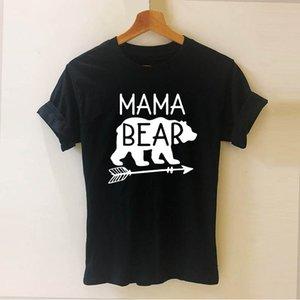 MAMA BEAR الأمهات رسائل مطبوعة المتناثرة التي شيرت مضحك Teeshirt المرأة عادية قصيرة الأكمام بلايز تيز الرياضة مقنع البلوز هوديي