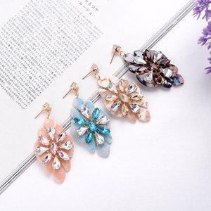 Colorful Crystal Stone Flower Women Resin Drop Earrings Fashion Rhinestone Dangle Earrings Trendy Statement Girls' Jewelry