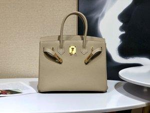 Designer Luxus Brieftasche Handtasche Messenger Bag Französisch Original Togo Leder Handmade Wachsgewinde Nähverfahren S2 Windjacke Grau Goldschnalle