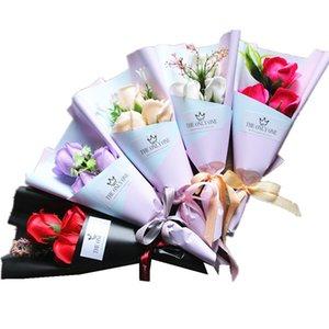 3 Head Soap Rose Flower Bouquet Valentine Day Gift Rose Carnation Mothers Teacher Day Flower Present