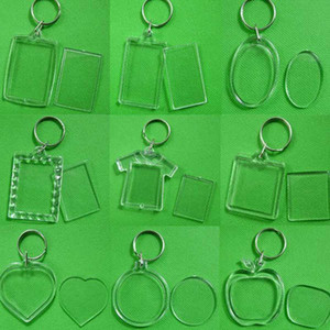 12 Style DIY Acrylic Blank Photo Key Chains T-shirt Shape Key Chains Insert Photo Key Rings