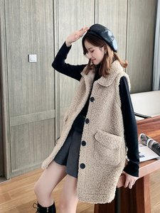 Lamb hair vest women new autumn retro loose sleeveless jacket waistcoat women's vest waistcoat outer wear y2k sweater vest 201031