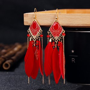 Accessories fashion Accessories tassel Bohemian pearl Earrings Feather Earrings creative gift ear rings for ladies