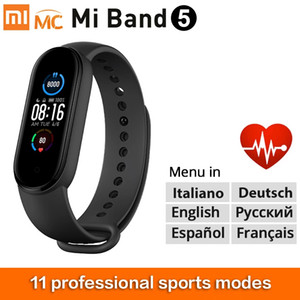 "Nuovo Braccialetto Xiaomi 5 Smart Bracelet 1.1 ""Dynamic Color-Display Miband 5 Wristband Fitness Tracker cardiaco Voto Monitor Smartband5"
