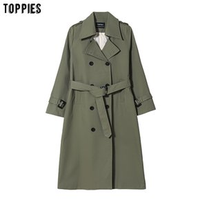 Toppies New Arrival Long Coat Women Double Breasted Slim Trench Coat Korean Outwear 201016