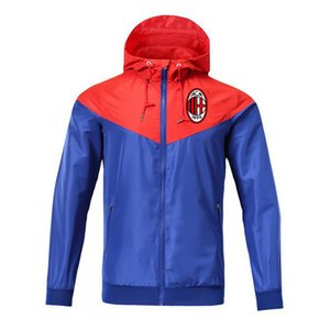 AC Milan rompevientos chaqueta de cremallera de la chaqueta con capucha de fútbol cazadora deportiva de fútbol de la capa de la cremallera completa chaquetas de los hombres