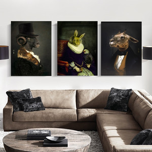 Retro Wall Art Nostalgia Gentleman Oil Painting Animal Posters Prints Vintage Wall Art Picture for Living Room Fashion Home Decoration