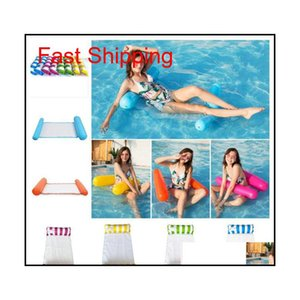 Fashion Inflatable Floating Water Hammock Lounge Bed Chair Summer Kickboards Pool Float Swimming Pool Inflatable Bed Beach Playing Bv1Pi