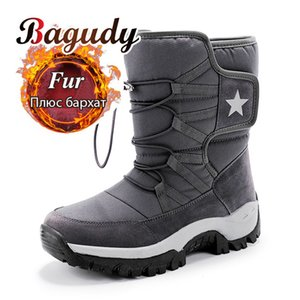 Unisex Snow Boots Warm Push Mid-Calf Boots Waterproof Non-slip Winter Boots Thick Leather Platform Warm Shoes Large Size 35-46 201019