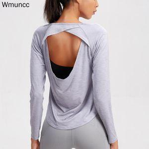 WMuncc Sexy Yoga TOP тренажерный зал женщин с длинным рукавом открытые рубашки задние рубашки быстрые сухие спортивные вершины активный отдых спортивные футболки фитнес одежда1