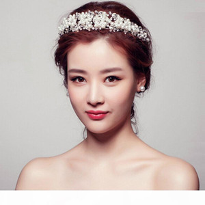 Korean style rhinestone queen wedding crowns red and white handmade bridal crystal tiaras hair jewelry accessorie
