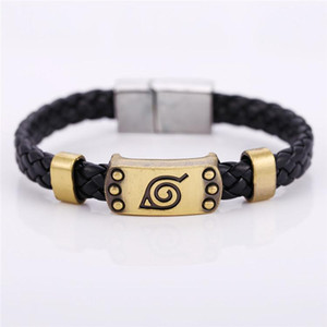 H&F best selling proudcts hot anime Naruto black woven leather metal charm bracelet for men jewelry cosplay accessories