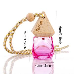 Car Perfume Bottle Pendant Essential Oil Diffuser 9 Colors Bag Clothes Ornaments Air Freshener Pendant Empty Glass Bottle Perfume Z41