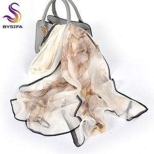 [BYSIFA] Female Spring White Chiffon Scarves New Floral Design Long 100% Silk Shawl Autumn Winter Women Neck Scarf Y201007