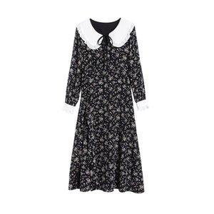 2021 Women Summer Runway Long Sleeves Dress Ladies Cute Peter pan Collar Flower Print Fashion Party Silk Dresses Vestdios