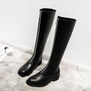 BJYL 2020 Autumn Winter New Woman Plus Velvet Long Boots Women Mid Heel Boots Front Zipper High Motorcycle
