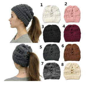2020 New knitted cross ponytail knit cap with opening lady's wool warm hat 5pcs lot Epacket Delivery.
