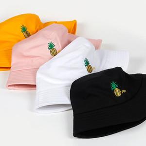pineapple pin embroidery bucket hat for men women hip hop fisherman hat Adult panama bob summer lovers flat hats