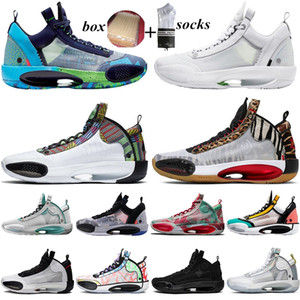 Com Caixa 2021 Jumpman 34 34S Sapatos de Basquete Homens Mulheres Sneakers Heritage Wrapping Paper Zoo Paris Jogo Mens Trainers Sports Runners 40-46