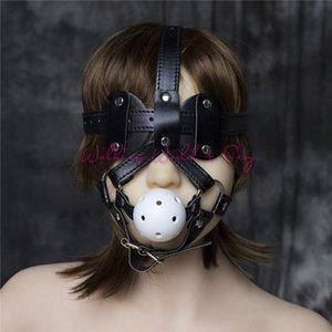 Paare Knebel mit verbundenen Augen Cosplay Harness Flirten Bondage Leder Toys Adult Fetisch Slave Gag Sex Mouth Für Gag Sex-Ball S924 Co Qvmq Maske