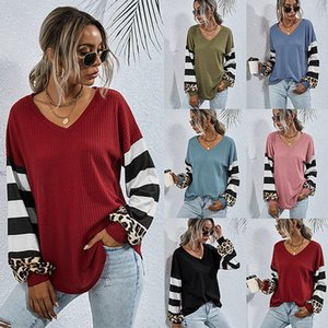 2020 Female T Shirt Women Stripe Patchwork Casual Tops Shirt Tees Autumn Long Sleeve V Neck Autumn Chemise High Quality Clothes Sale New