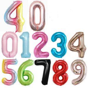 """40 дюймов Большая фольга Номер воздушных шаров 40 """"Гигантский большой воздушный шар 0-9 Числа поплавок шар с днем рождения свадьба 2021 Новый год декор E122301"""