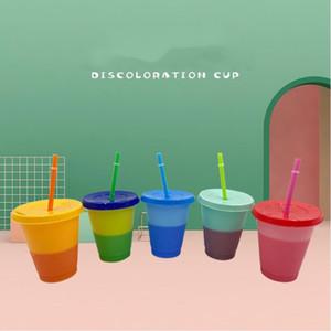 16 once Cambiare colore Bicchieri bere tazza magica plastica con coperchio e paglia 25pcs riutilizzabile di colore della caramella fredda Summer Cup boccali CCA12575