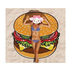 Round Yoga Mat Picnic Blanket Pizza Hamburger Donut Poliestere Beach Shower Asciugamano Blank Jllhhg Sinabag