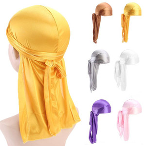 Fashion Pirate Hat Men And Women Long Tail Turban Hat Solid Color Satin Turban Outdoor Fashion Decorative Hat Hip Hop Party Hats DWE1223