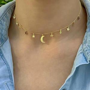 Trendy geometrische Mondstar Anhänger Choker Halsketten für Frauen Weibliche Gold-Schlüsselbeinkette Chocker Halskette Schmuck Colar-Halsbänder
