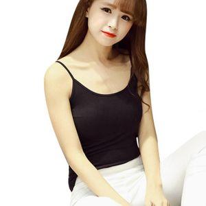 Camisoles & Tanks Solid Color Tank Tops 100% Cotton Women Summer Camisole Vest Stretchable Ladies Slim Strap