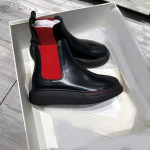 Mit Box Lasten Frauen TIRE Stiefel mit klobiger Profilsohle, gewellt Gummi abgerundete Spitze schwarz Plattform Kalbsleder Anzieh-Stiefeletten Größe 35-40