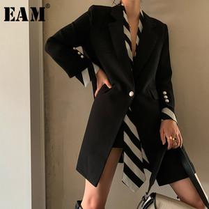 [EAM] Women Black Striped Printed Stitch Long Blazer New Lapel Long Sleeve Loose Fit Jacket Fashion Spring Autumn 1W479 201008