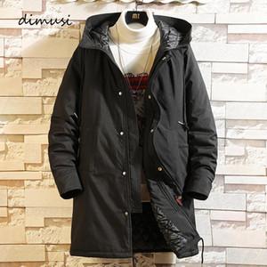 Dimusi Kış erkek Ceketler Moda Erkek Pamuk Kalın Sıcak Parkas Rahat Dış Giyim Orta-Uzun Termal Kapüşonlu Mont Erkek Giyim