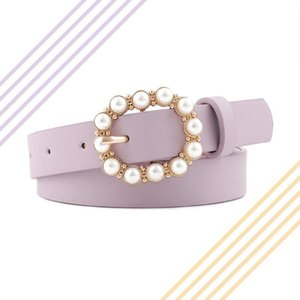 Inlaid Pearl Simple Designer's Belt Leather High Quality Belt Pearl Ring Circle Buckle Girl Jeans Dress Wild Belts
