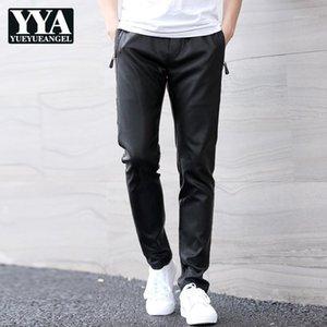 Mens Elastic Waist PU Couro Harem Calças Straight Casual Streetwear Slim Fit Calças Masculino Grande Tamanho Faux Leather Couro Preto Pants1