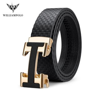 Calças Homens Jovens em forma de H Williampolo Tide Moda Automatic Buckle de couro puro Belt Homens