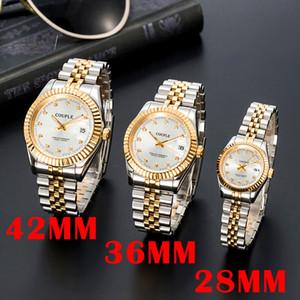 Orologio di Lusso Mens Automatic Gold Gestore Donne Delle Donne Vestito Full Acciaio inossidabile Acciaio inossidabile Ambientazione di coppie luminose impermeabili Stile classico orologi da polso