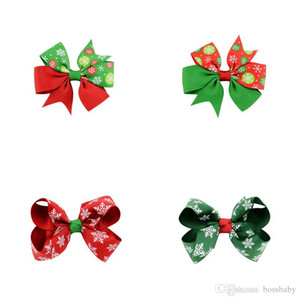 Baby Girl Bow Barrettes Bow Rib Belt Printed Christmas Hair Bows Girls Hair Bows Girls Hairs Clips Baby Headbands 07