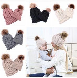 2PCS Mother & Baby Hat Parent-Child Hat Family Matching Cap Winter Warmer Knit Wool Beanie Ski Cap