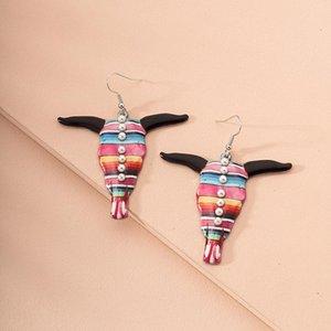 Western America Flower Ox Bull Head Horn Texas Cowboy Longhorn Piercing Earrings Ins Korean Fashion Chic Jewelry Bijoux Earring